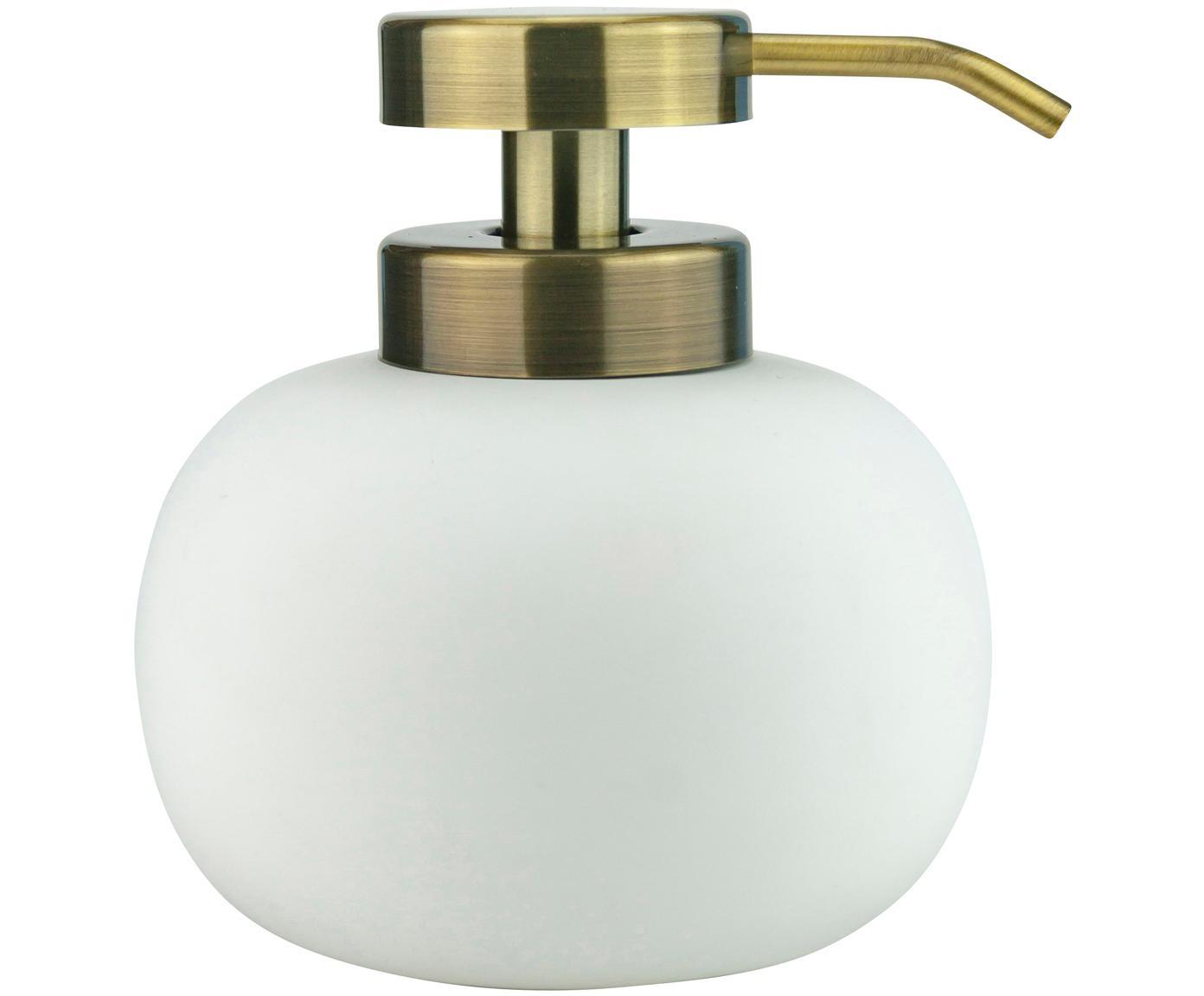 Dozownik do mydła Lotus, Biały, mosiężny, Ø 11 x W 13 cm