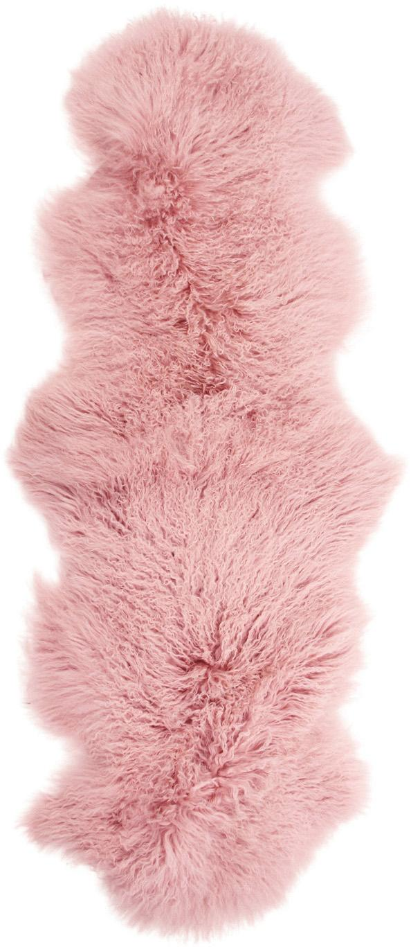Langhaar-Lammfell Ella, gelockt, Vorderseite: 100% mongolisches Lammfel, Rückseite: 100% Leder, Rosa, 50 x 160 cm