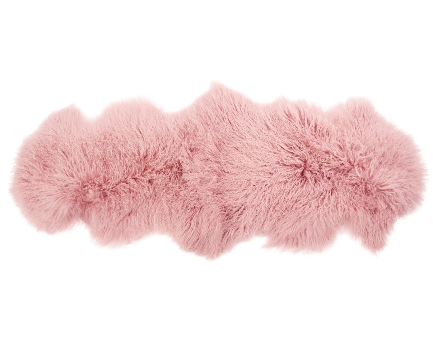 Langharige schapenvacht Ella, Bovenzijde: 100% Mongoolse schapenvac, Onderzijde: 100% leer, Roze, 50 x 160 cm