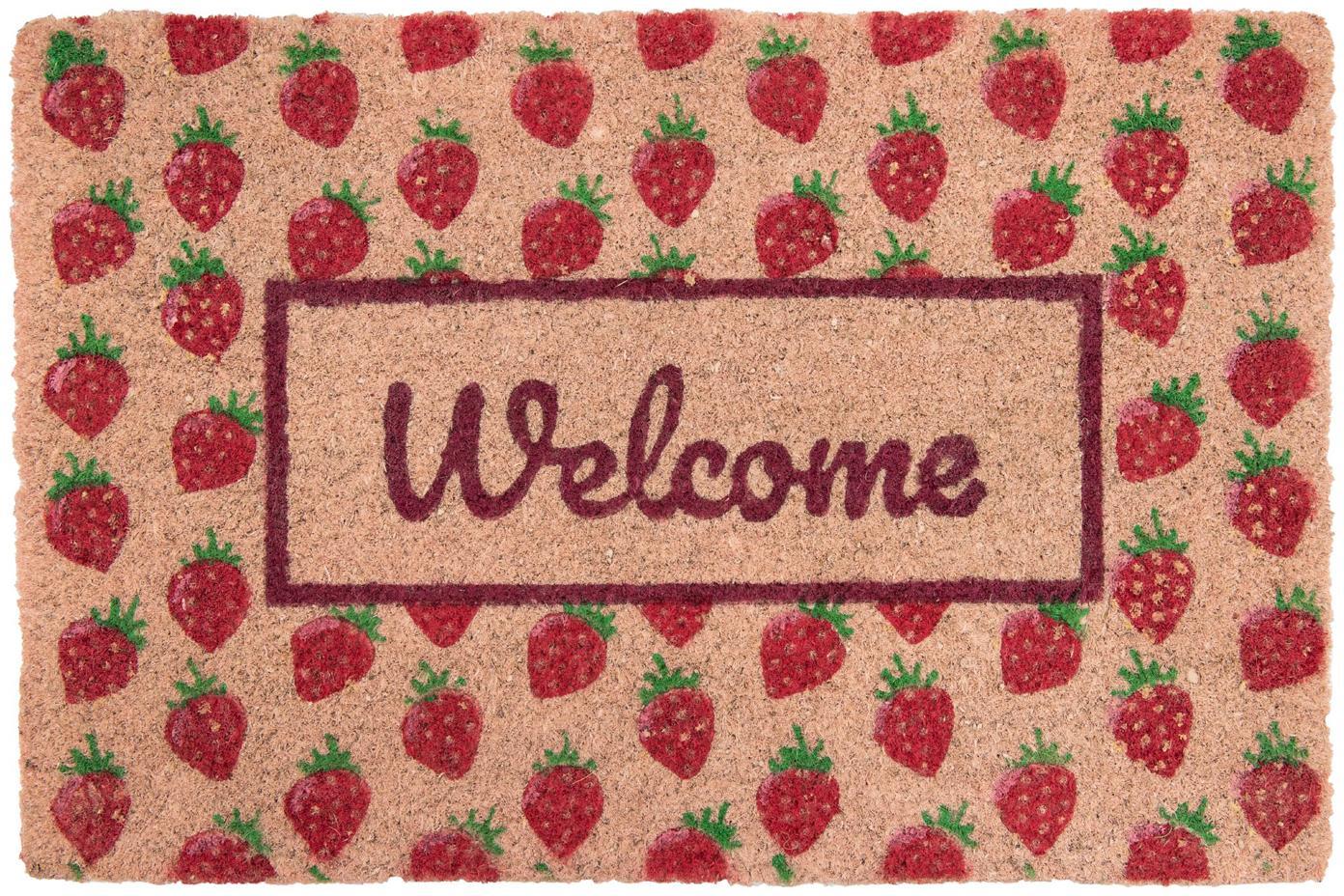 Fussmatte Welcome mit Erdbeeren, Oberseite: Kokosfaser, Unterseite: PVC, Rosa, Rot, Grün, 40 x 60 cm