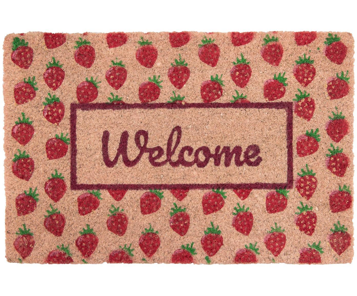 Fußmatte Welcome mit Erdbeeren, Oberseite: Kokosfaser, Unterseite: PVC, Rosa, Rot, Grün, 40 x 60 cm