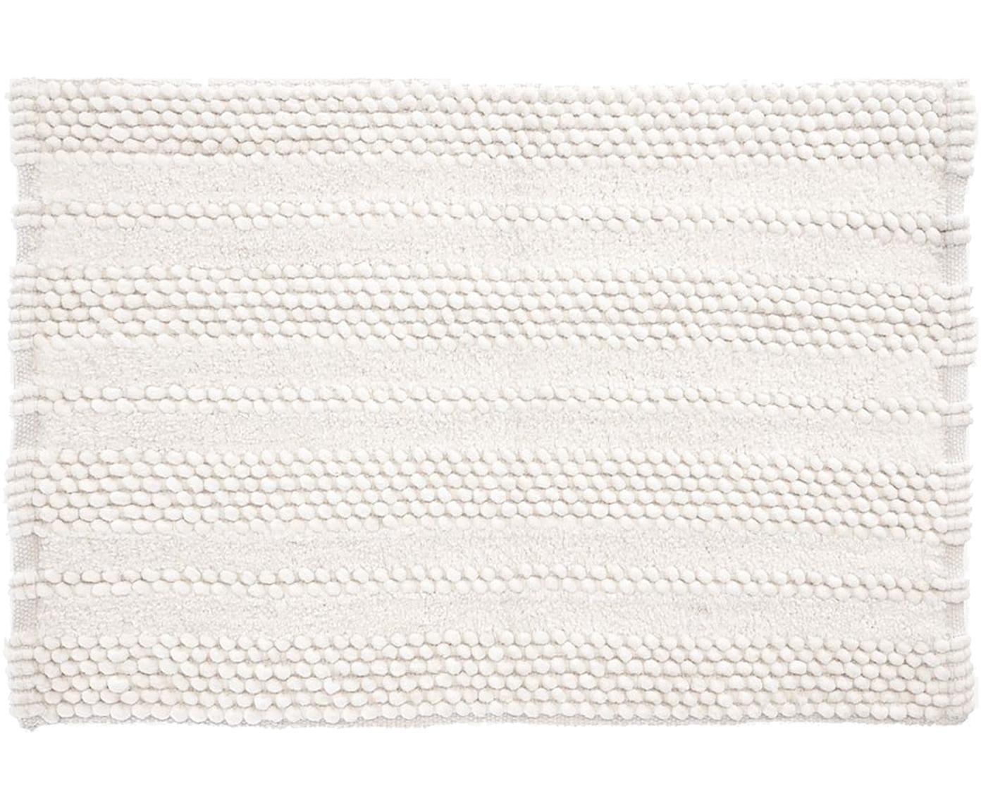 Tappeto bagno con struttura a rilievo Nea, 65% ciniglia, 35% cotone, Bianco, Larg. 80 x Lung. 120 cm