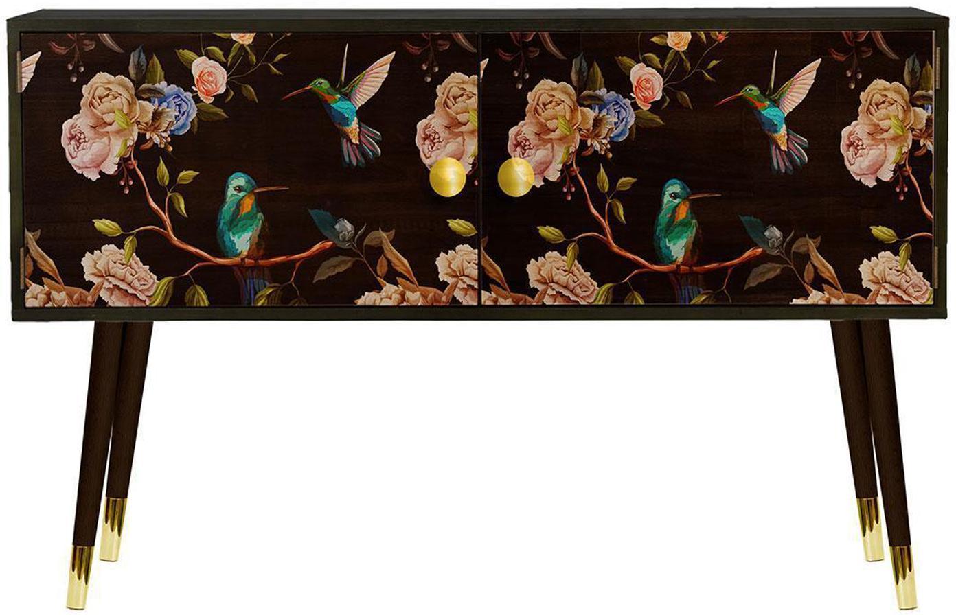 Aparador de madera de pino Colibrí, Patas: madera de pino pintada co, Multicolor, An 115 x Al 74 cm