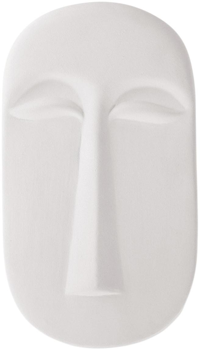 Wandobject Mask van keramiek, Keramiek, Wit, B 13 x D 24 cm