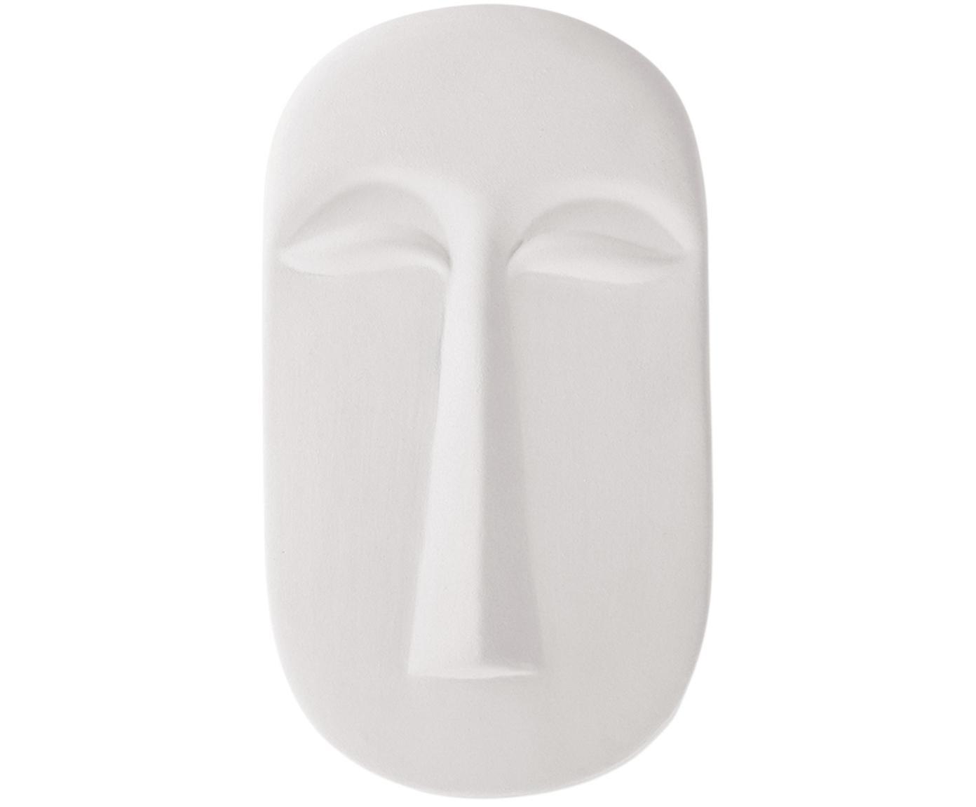 Wandobjekt Mask aus Keramik, Keramik, Weiss, B 13 x T 24 cm