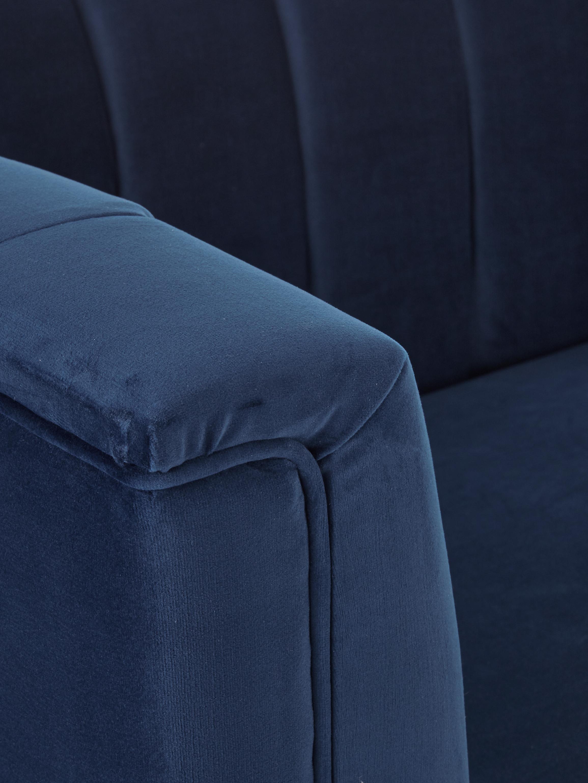 Samt-Sofa Paula (3-Sitzer), Bezug: Samt (Polyester) 28.000 S, Gestell: Kiefernholz, Füße: Kautschukholz, Samt Blau, 199 x 77 cm