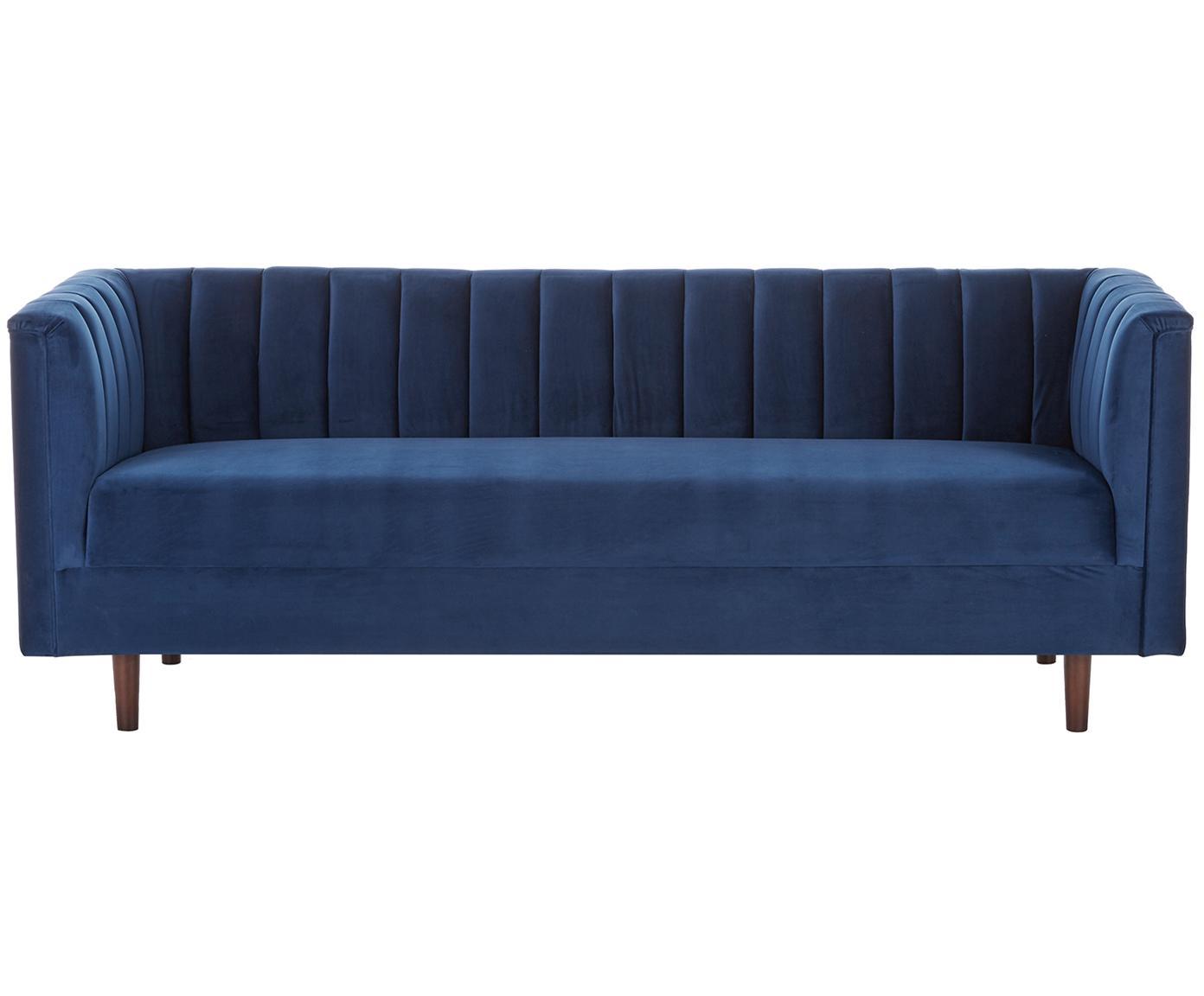 Sofa z aksamitu Paula (3-osobowa), Tapicerka: aksamit (poliester) 28 00, Stelaż: drewno sosnowe, Nogi: drewno kauczukowe, Tapicerka: niebieski Nogi: drewno kauczukowe, ciemny lakierowany, S 199 x W 77 cm