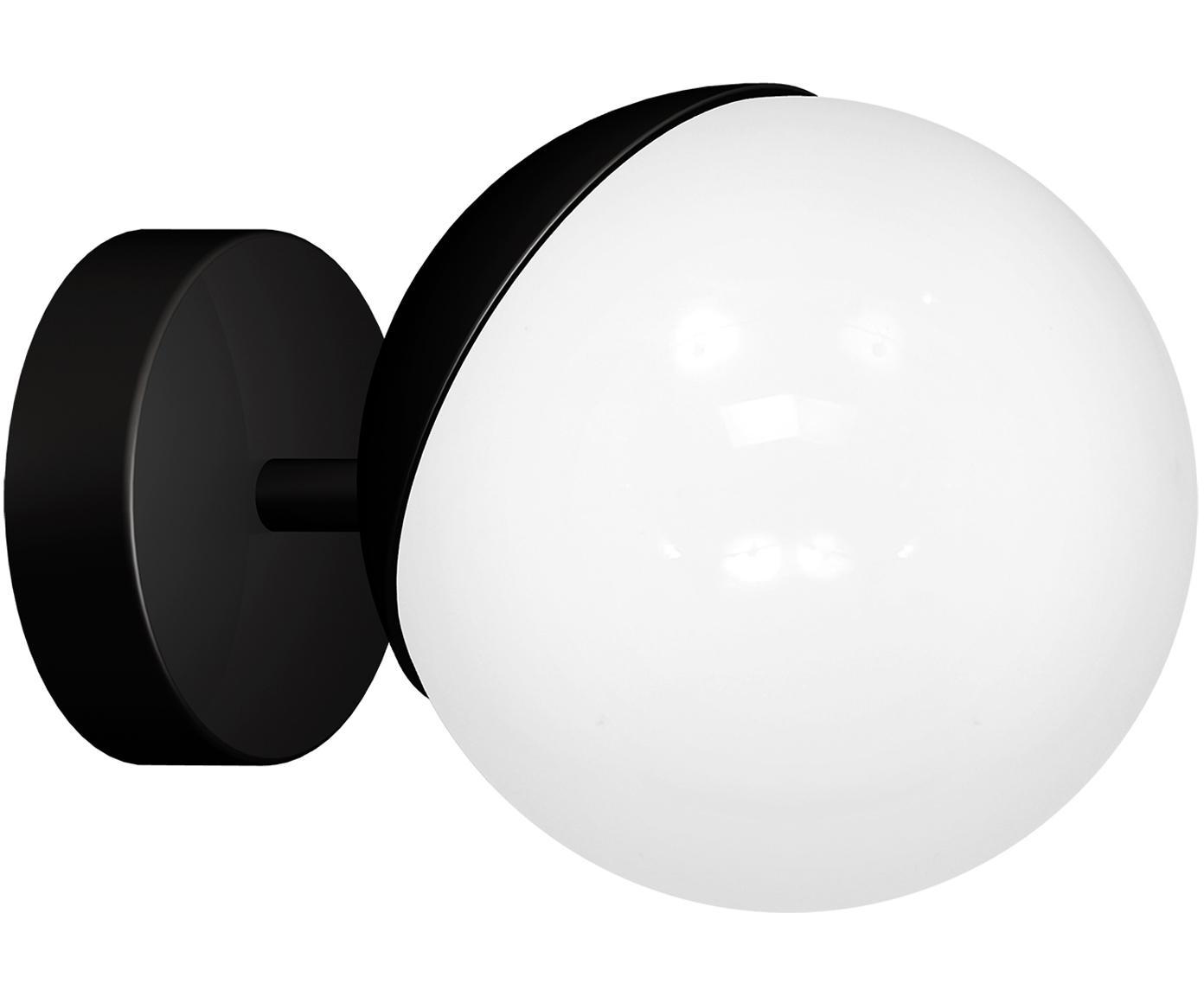 Applique en verre opalescent Sfera, Noir, blanc opalescent