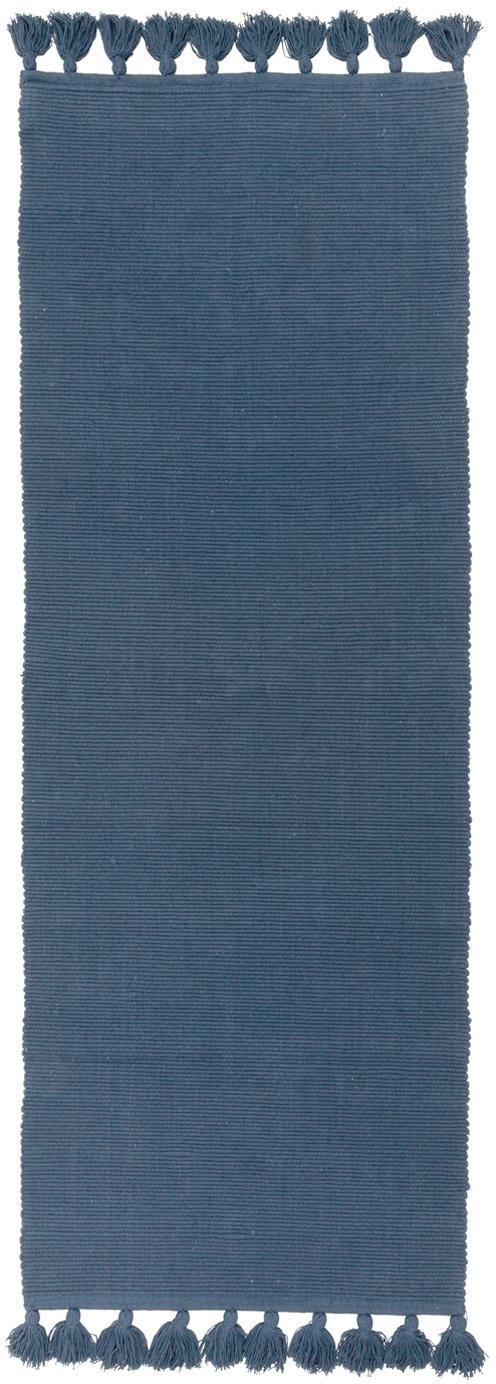 Passatoia in cotone con nappe Homer, Cotone, Blu indaco, Larg. 70 x Lung. 216 cm