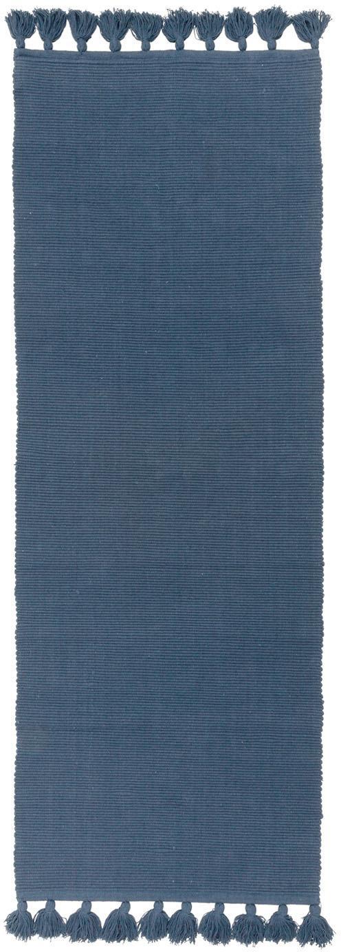 Läufer Homer in Blau mit Quasten, 100% Baumwolle, Indigoblau, 70 x 216 cm