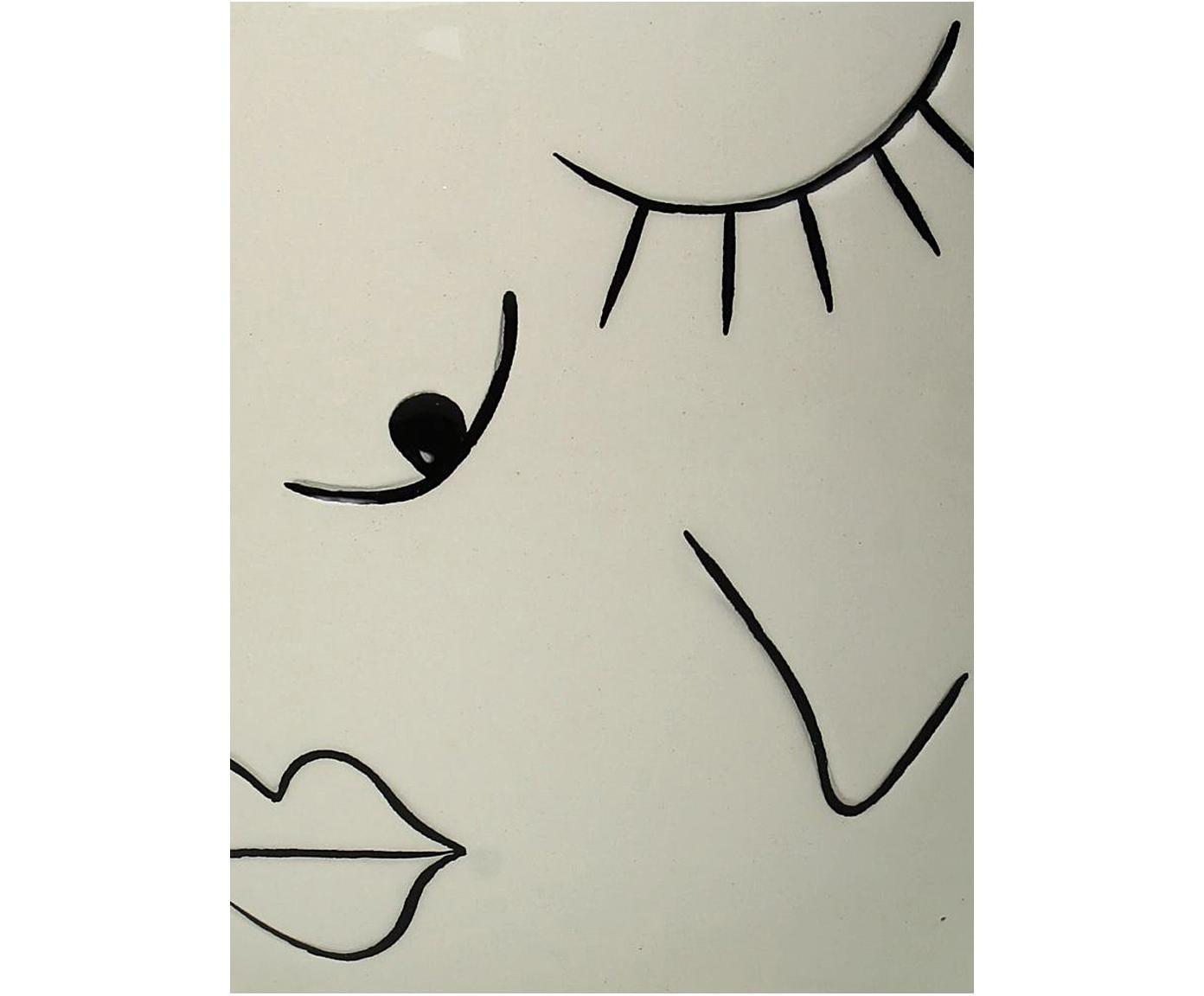 Kleiner Übertopf Eyes aus Steingut, Steingut, Gebrochenes Weiß, Schwarz, Ø 17 x H 19 cm
