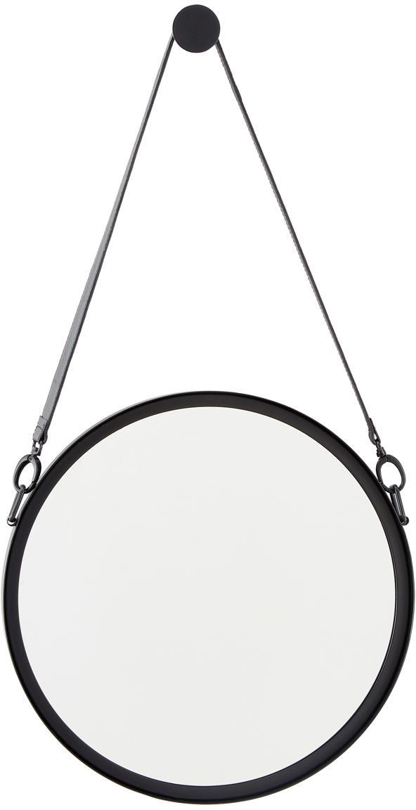 Specchio da parete rotondo con cinturino in pelle Liz, Superficie dello specchio: lastra di vetro, Retro: pannelli di fibra a media, Nero, Ø 40 cm