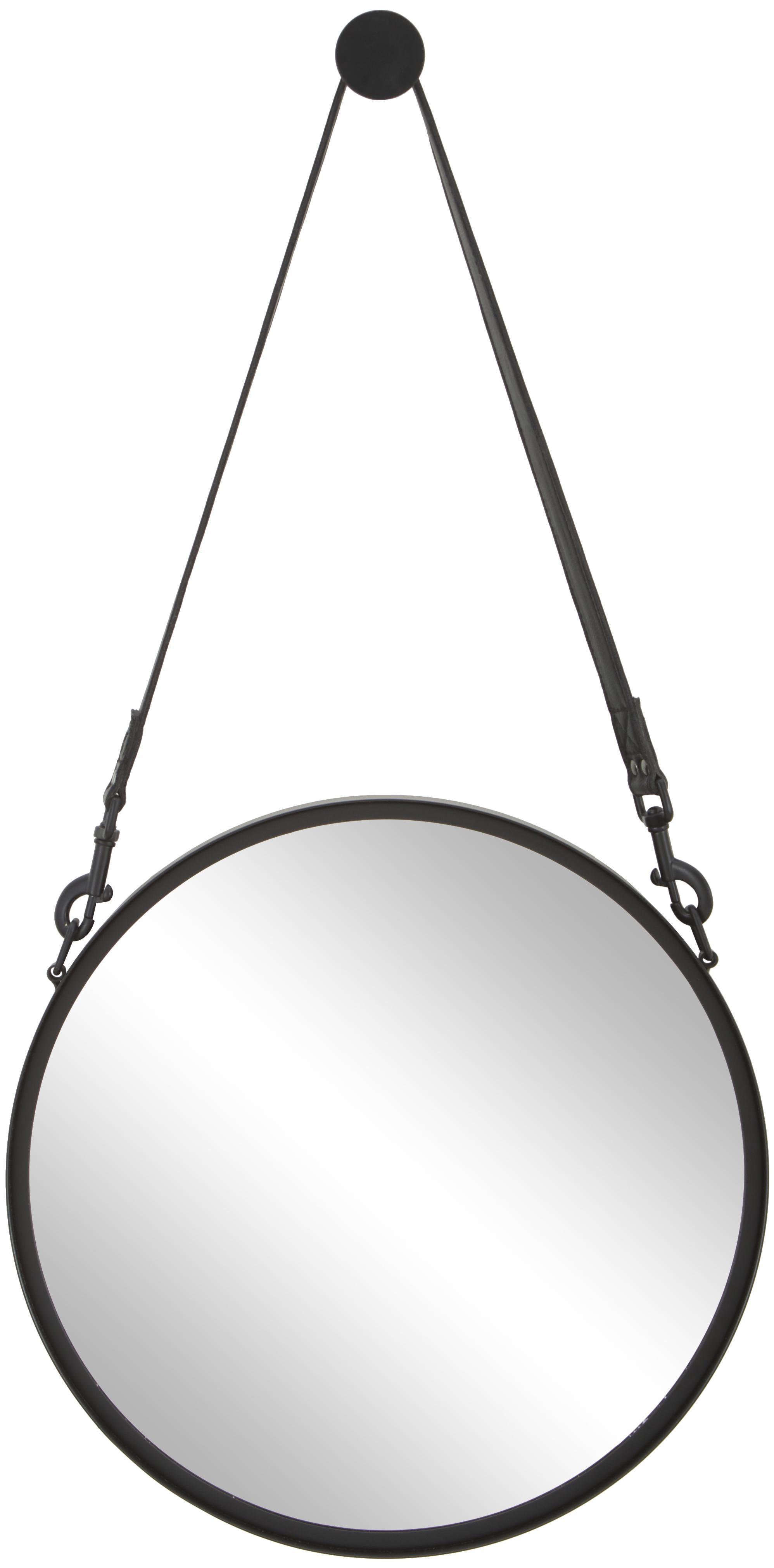 Espejo de pared redondo Liz, con correa de cuero, Espejo: cristal, Parte trasera: tablero de fibras de dens, Negro, Ø 40 cm