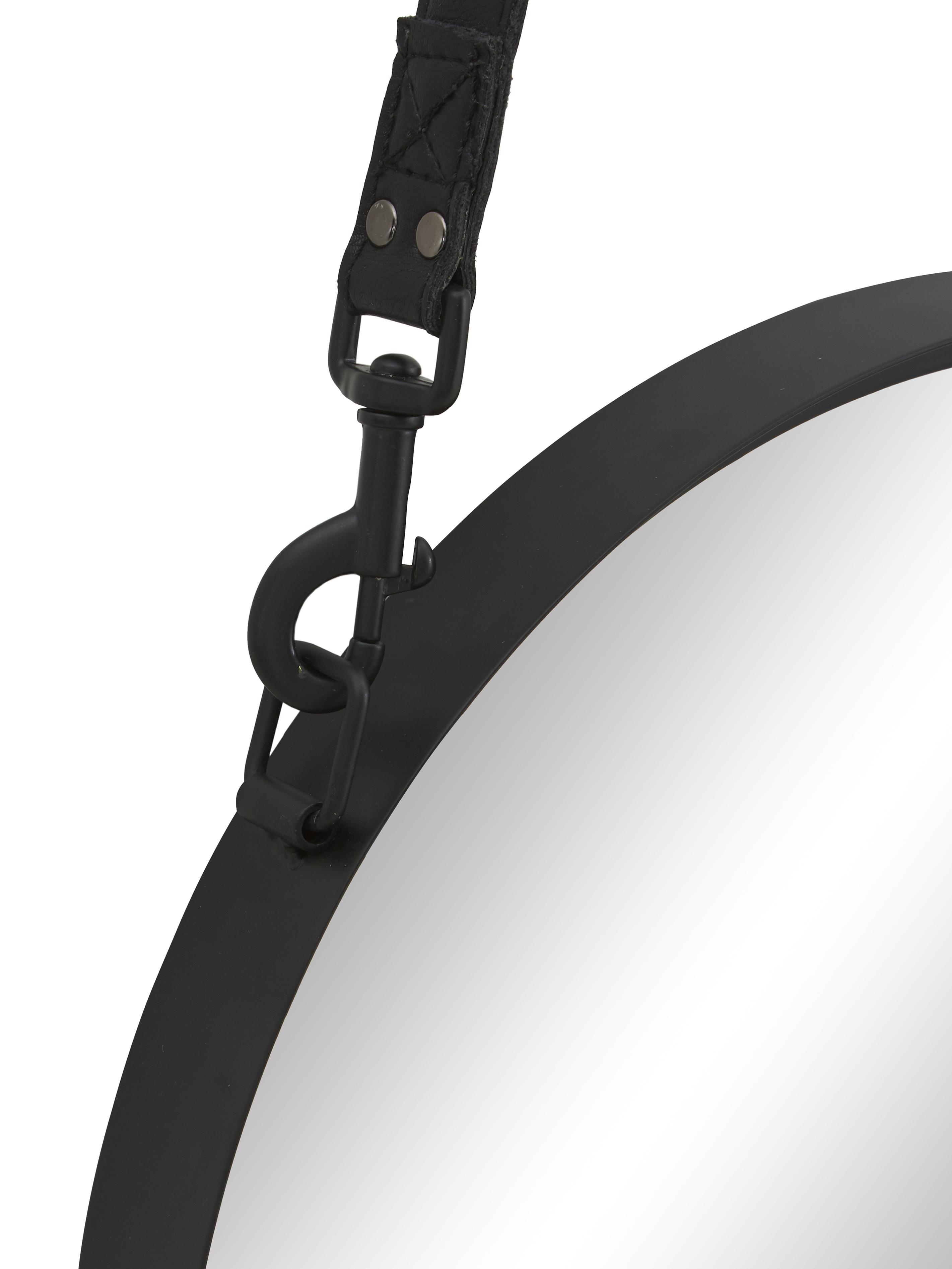 Espejo de pared redondo Liz, con correa de cuero, Espejo: cristal, Parte trasera: tablero de fibras de dens, Negro, Ø 60 cm
