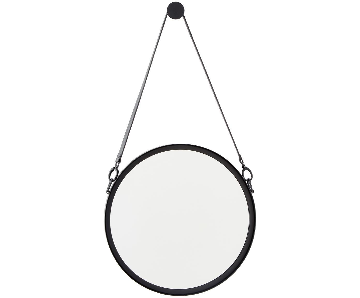 Specchio da parete con cinturino in pelle Liz, Superficie dello specchio: lastra di vetro, Retro: pannello di fibra a media, Nero, Ø 40 cm