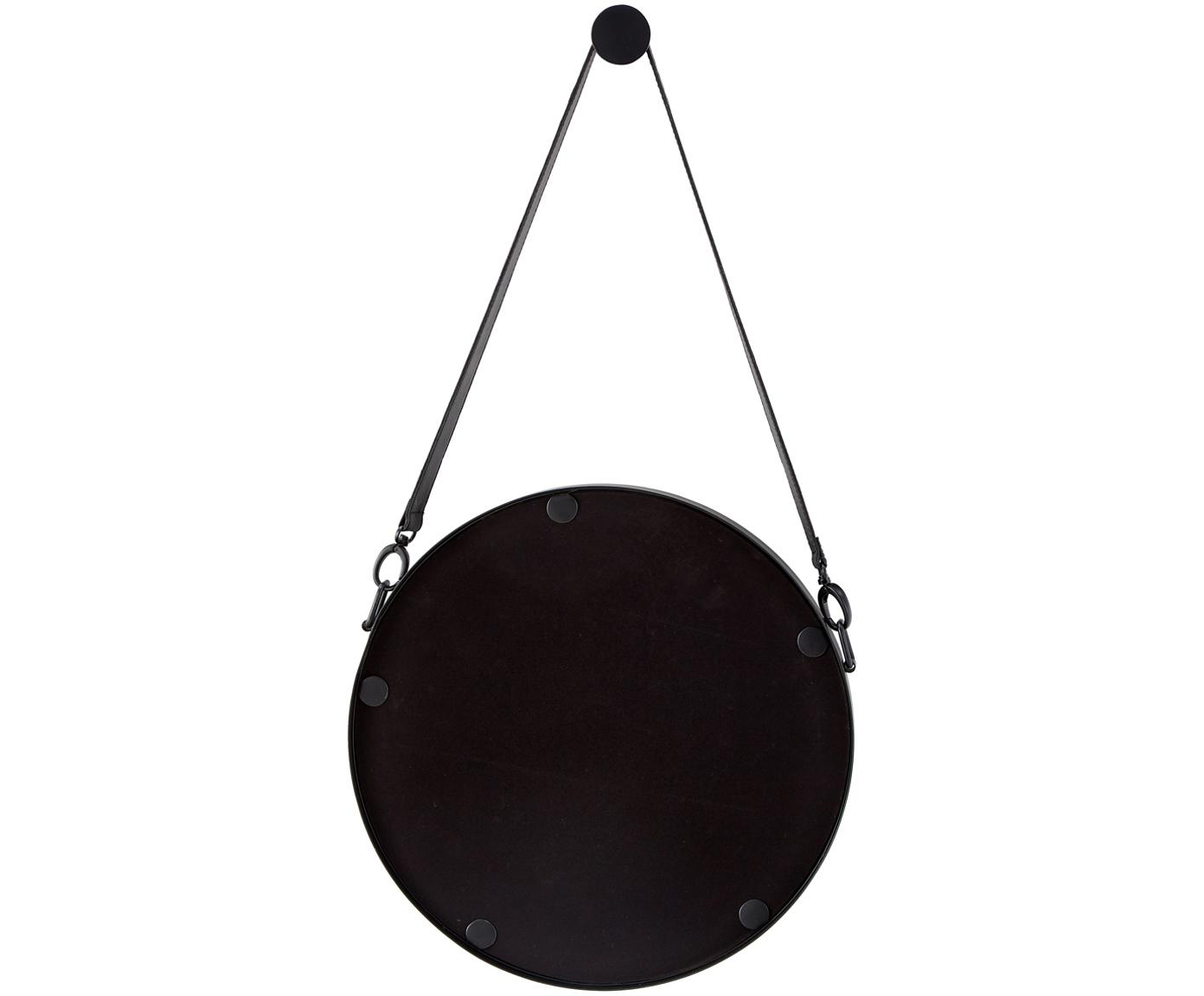Runder Wandspiegel Liz mit schwarzer Lederschlaufe, Spiegelfläche: Spiegelglas, Rückseite: Mitteldichte Holzfaserpla, Schwarz, Ø 60 cm
