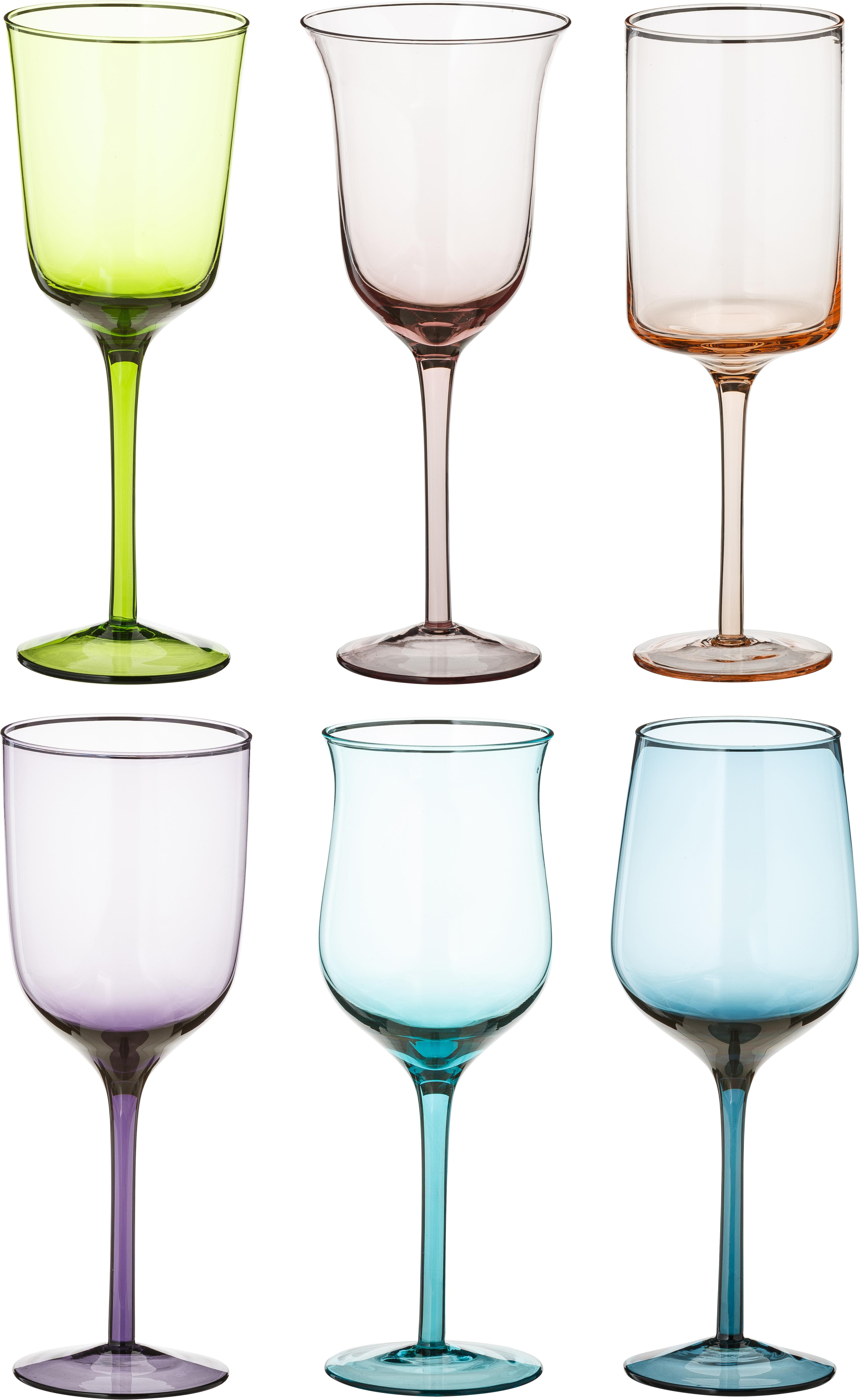 Copas de vino de vidrio soplado Desigual, 6uds., Vidrio soplado artesanalmente, Multicolor, Al 24 cm
