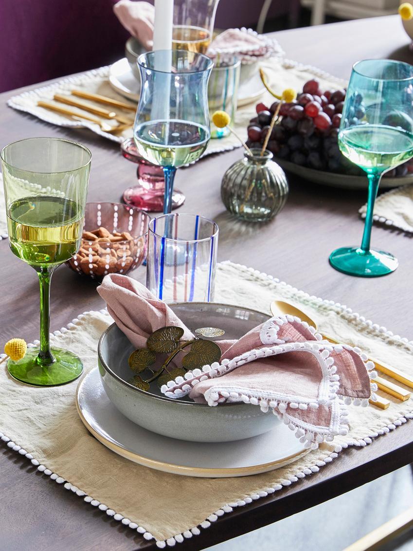 Bicchiere da vino rosso in vetro soffiato Desigual, set di 6, Vetro soffiato a bocca, Multicolore, Alt. 24 cm