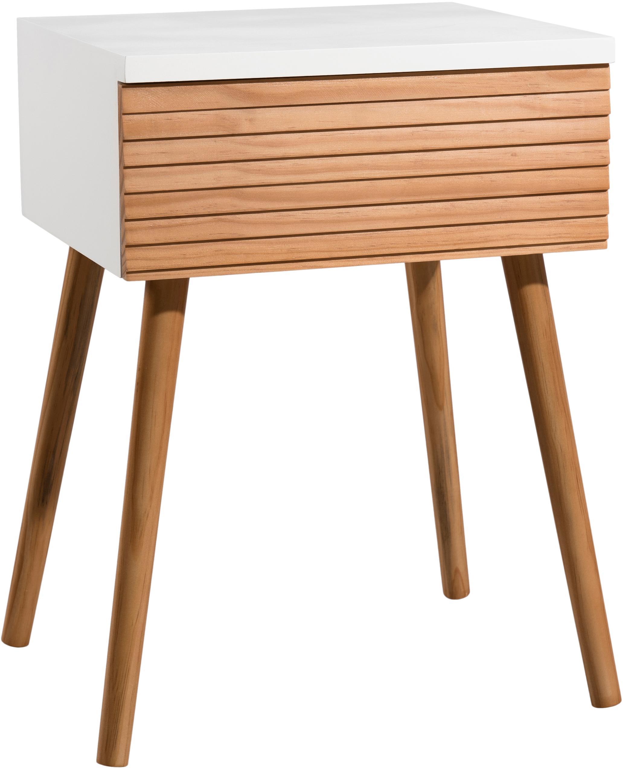 Szafka nocna scandi Pedro z szufladą, Korpus: płyta pilśniowa średniej , Biały, drewno sosnowe, S 40 x W 56 cm