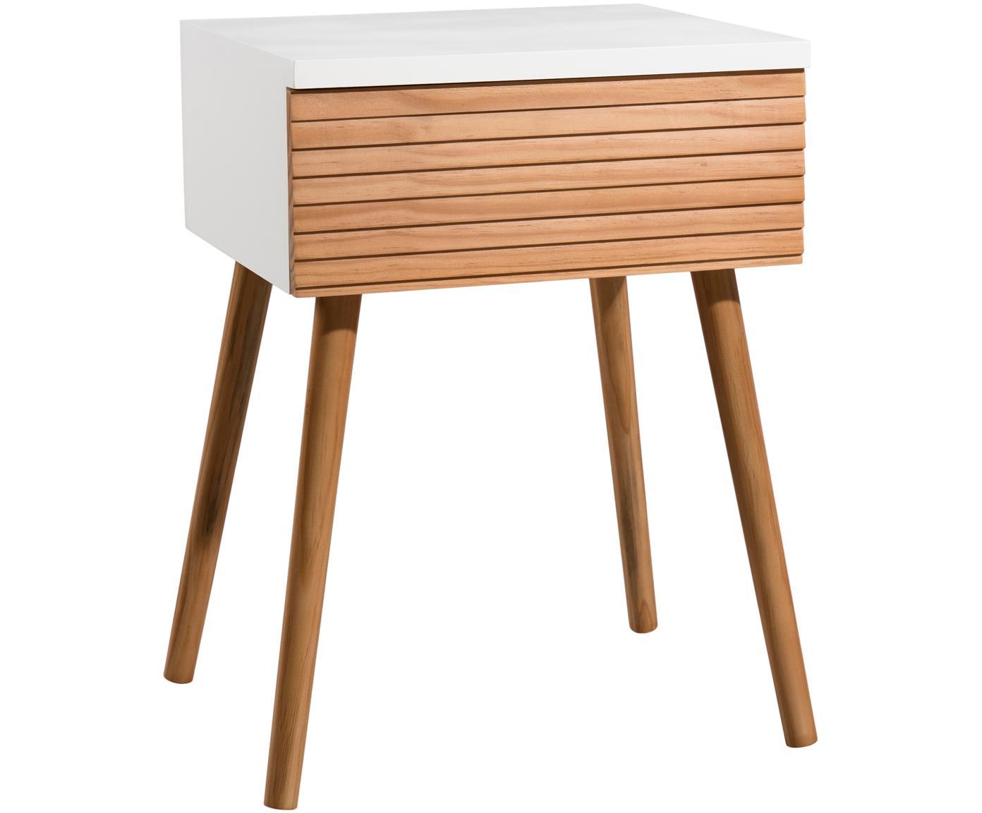 Mesilla de noche Pedro, estilo escandinavo, Estructura: tablero de fibras de dens, Blanco, madera de pino, An 40 x Al 56 cm