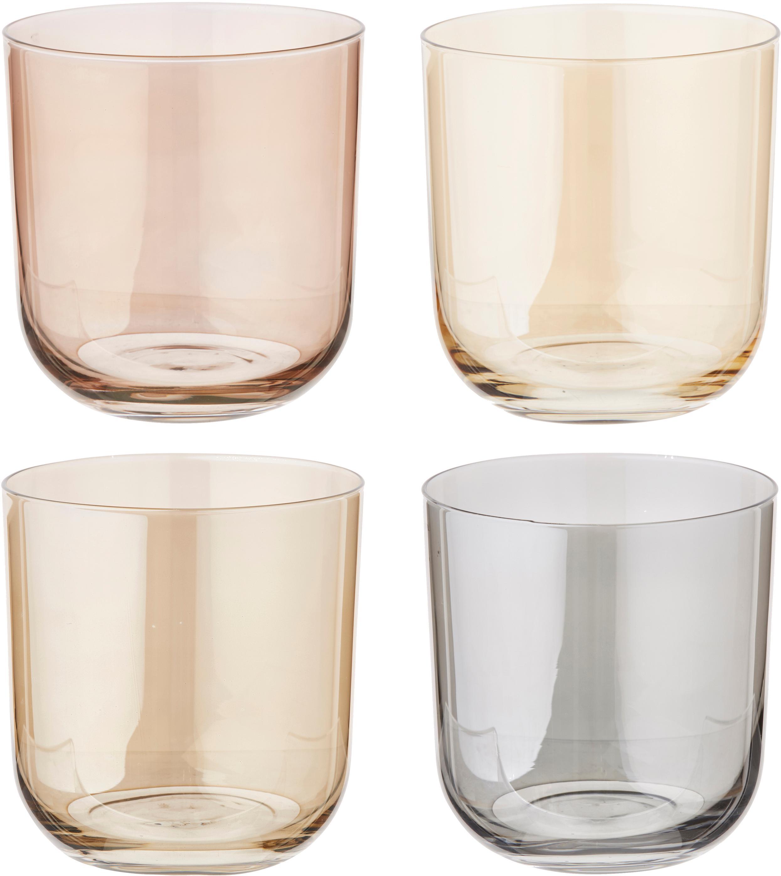 Set 4 bicchieri acqua dipinti a mano Polka, Vetro, Giallo, marrone, grigio, marrone, Ø 9 x Alt. 9 cm
