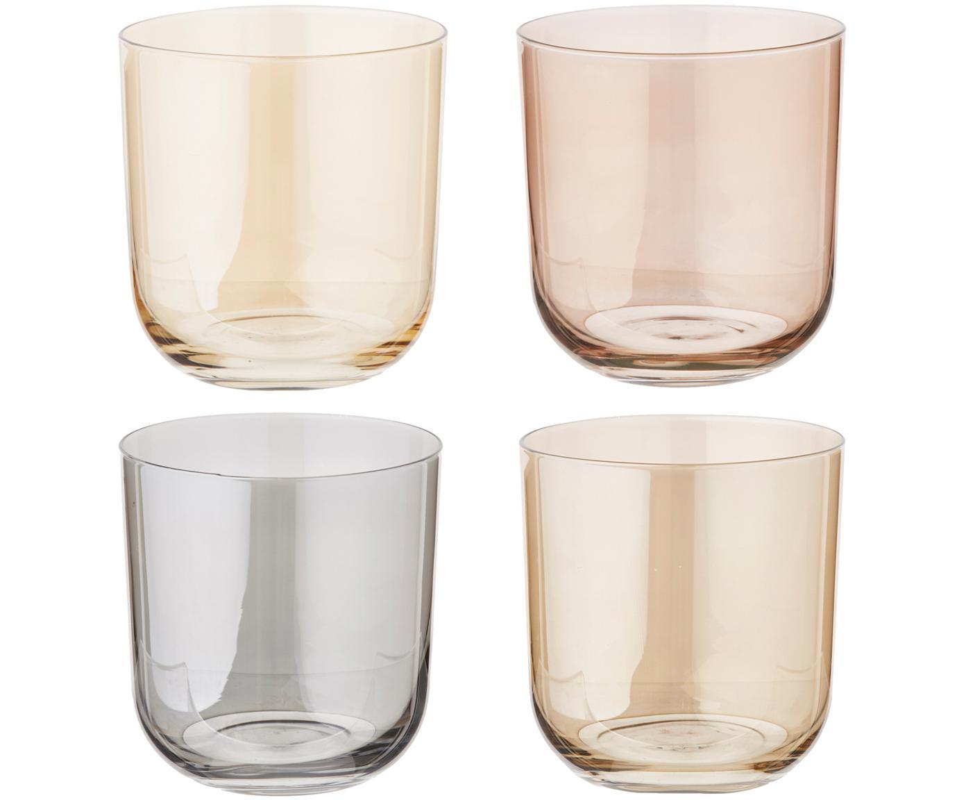 Bicchiere acqua dipinto a mano Polka, set di 4, Vetro, Giallo, marrone, grigio, marrone, Ø 9 x Alt. 9 cm
