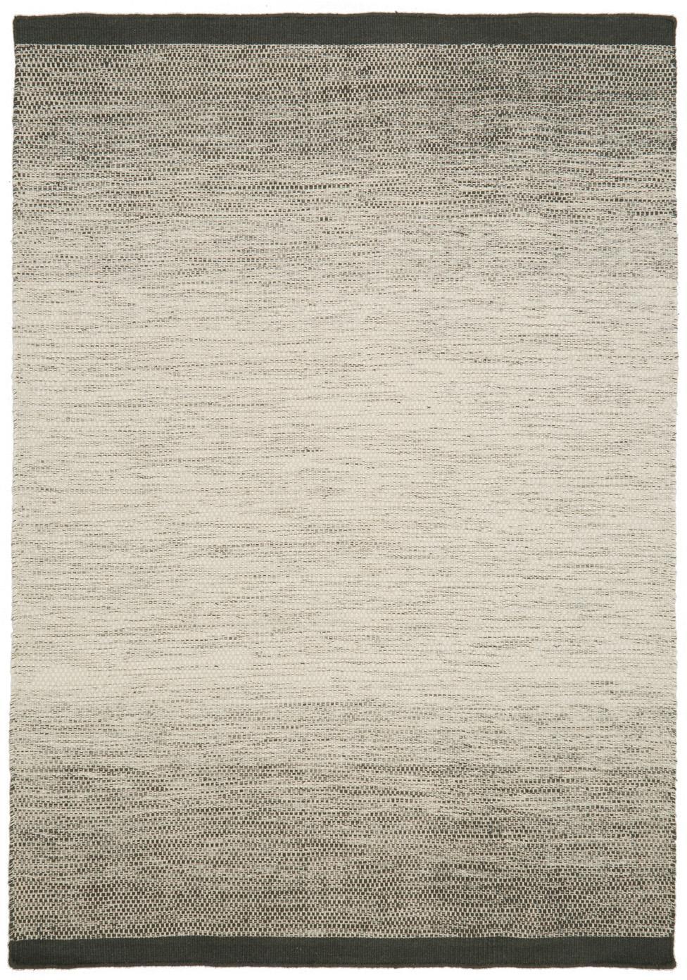 Handgeweven wollen vloerkleed Lule met kleurverloop in beige/groen, 70% wol, 30% katoen, Donkergroen, beige, B 140 x L 200 cm (maat S)