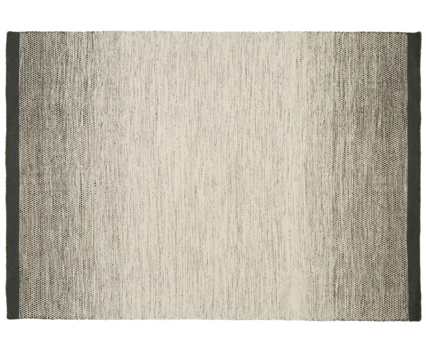 Alfombra artesanal de lana Lule, 70%lana, 30%algodón, Verde oscuro, beige, An 140 x L 200 cm (Tamaño S)