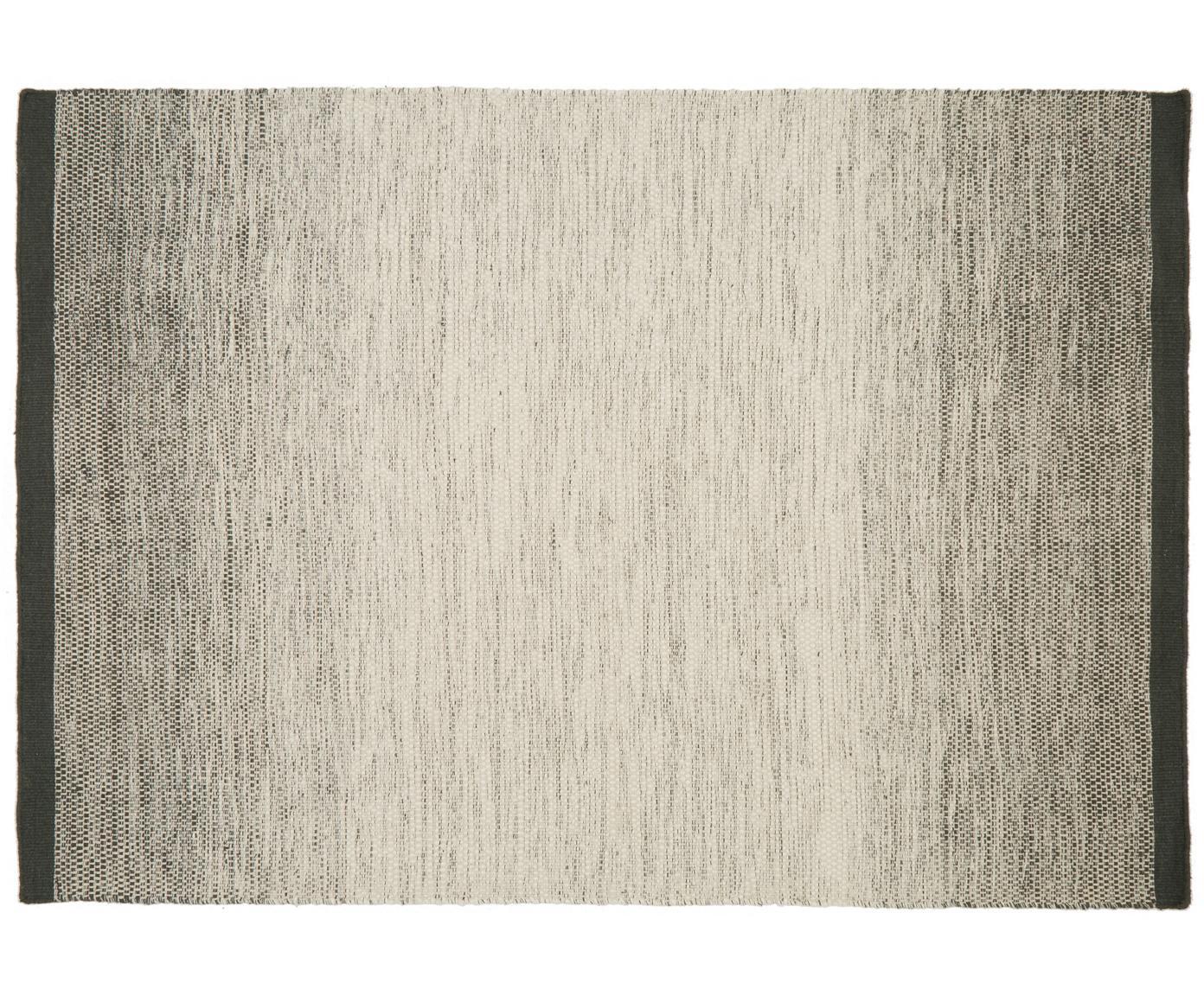 Handgewebter Wollteppich Lule mit Farbverlauf in Beige/Grün, 70% Wolle, 30% Baumwolle, Dunkelgrün, Beige, B 140 x L 200 cm (Größe S)
