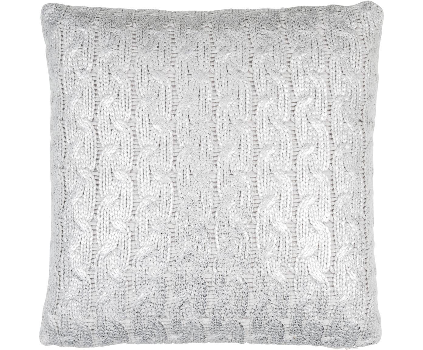 Federa arredo fatta a maglia effetto lucido Trenes, 100% acrilico, Grigio chiaro, argentato, Larg. 45 x Lung. 45 cm