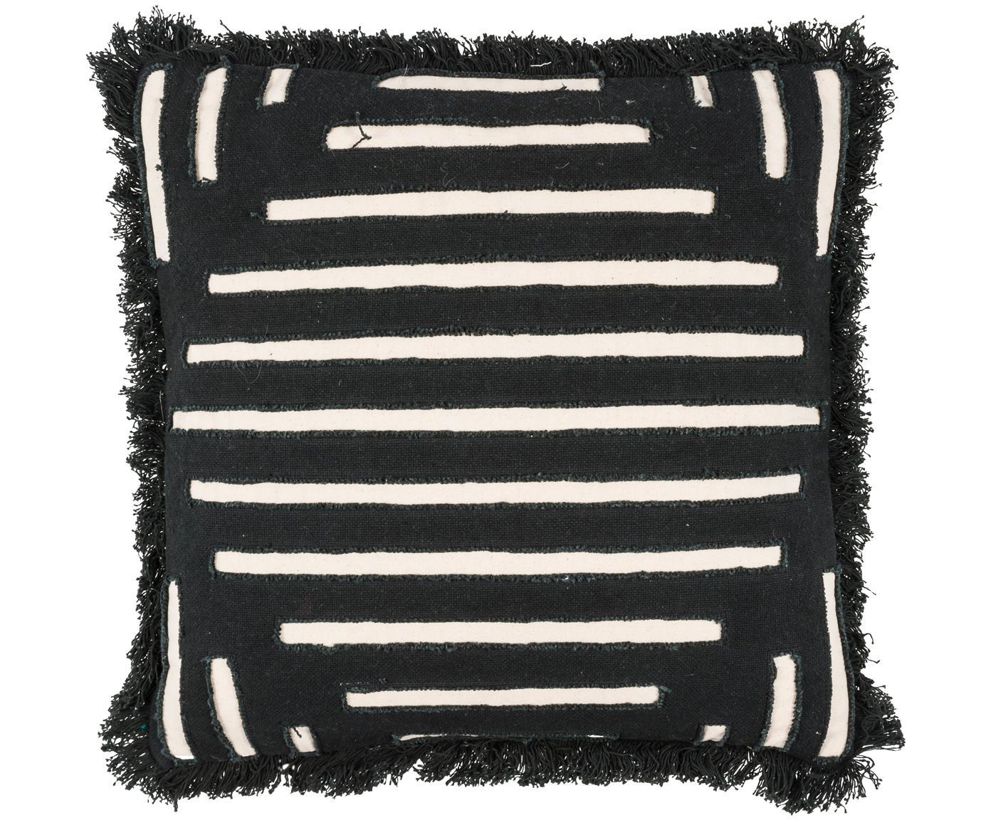 Kissen Ayana, mit Inlett, Bezug: 100% Baumwolle, Schwarz, Creme, 45 x 45 cm