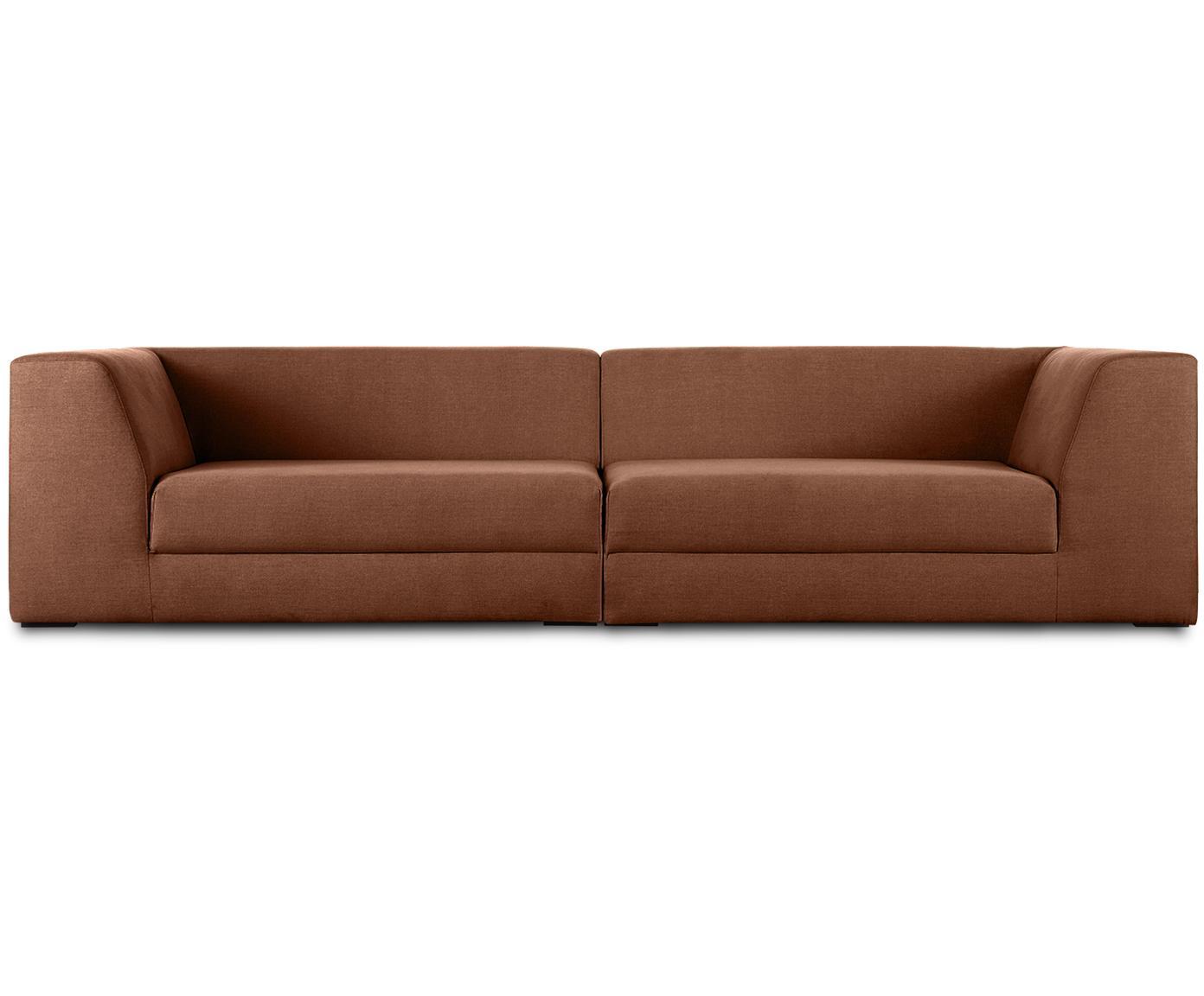 Modulares Sofa Grant (3-Sitzer), Bezug: Baumwolle 20.000 Scheuert, Gestell: Fichtenholz, Füße: Massives Buchenholz, lack, Webstoff Braun, B 266 x T 106 cm
