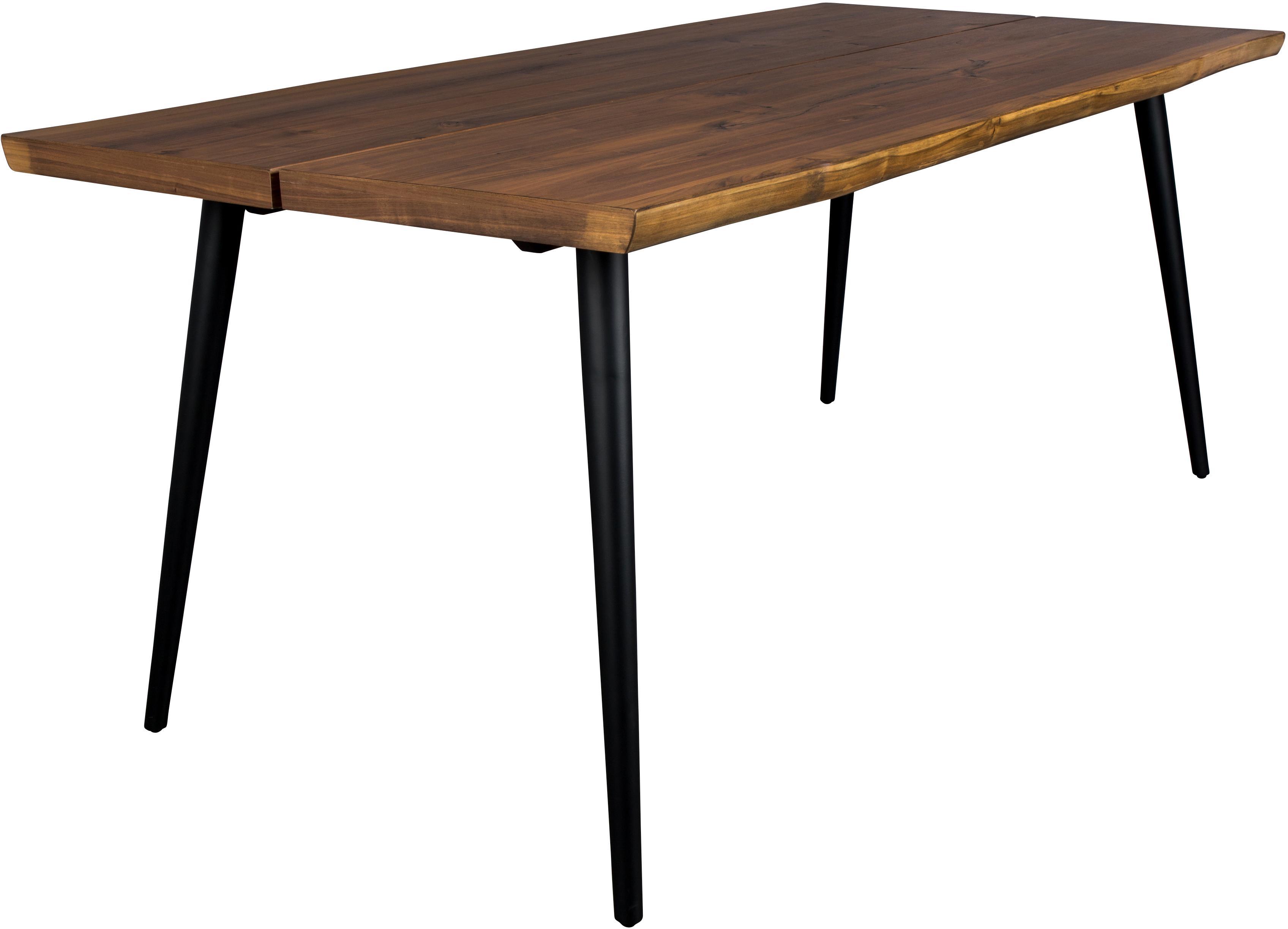 Esstisch Alagon mit Baumkante, Tischplatte: Mitteldichte Holzfaserpla, Beine: Stahl, pulverbeschichtet, Walnuss, B 180 x T 90 cm