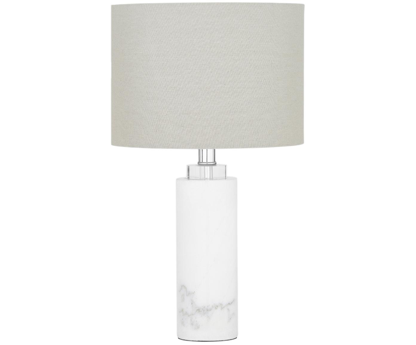Marmeren tafellamp Amanda, Lampenkap: textiel, Lampvoet: marmer, kristalglas, Wit, Ø 28 x H 48 cm