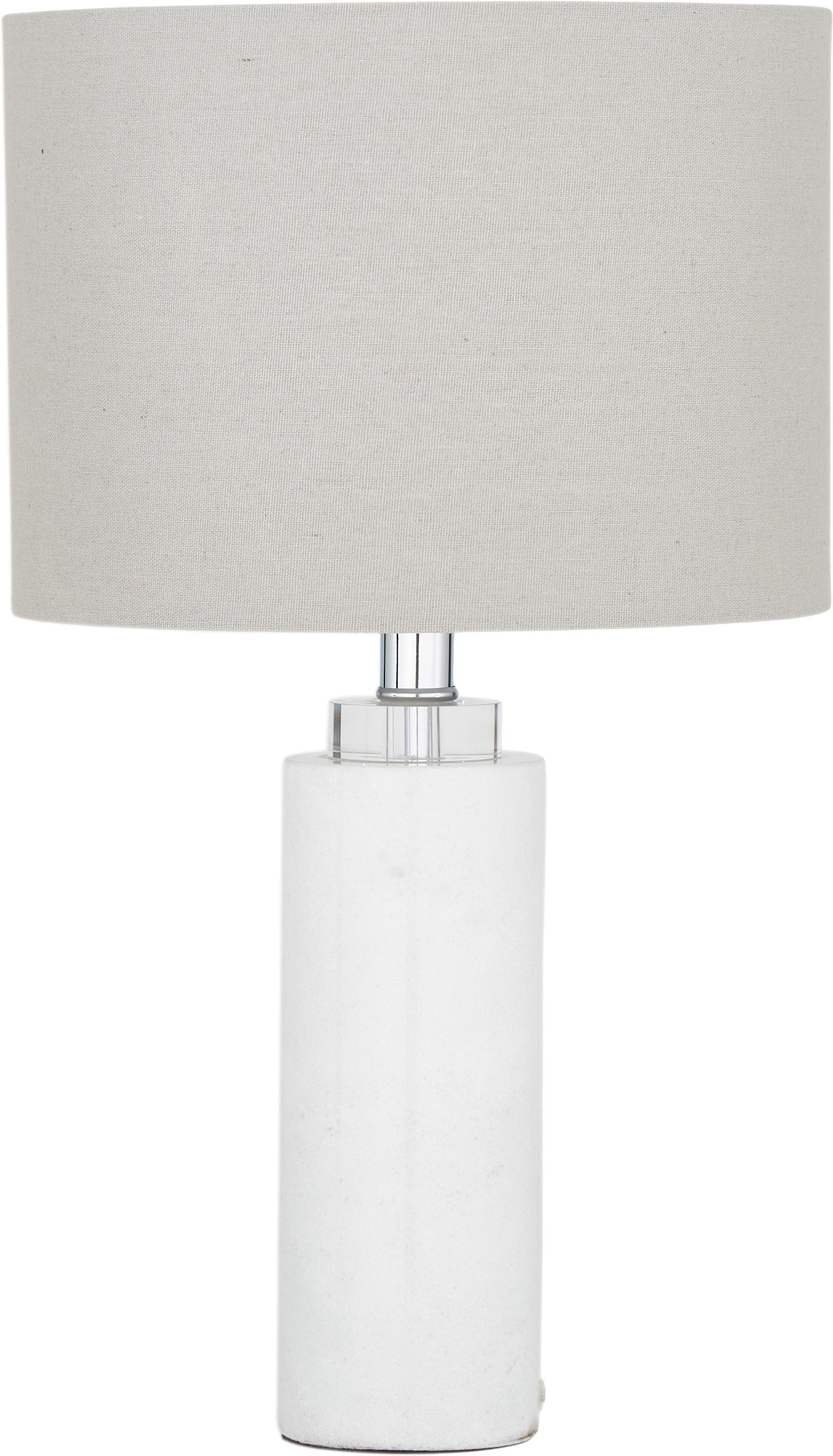 Klassische Tischlampe Amanda mit Marmorfuss, Lampenschirm: Textil, Weiss, Ø 28 x H 48 cm