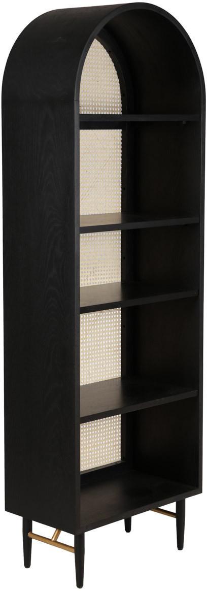 Estantería Exalt, Reverso: ratán, Negro, An 63 x Al 190 cm