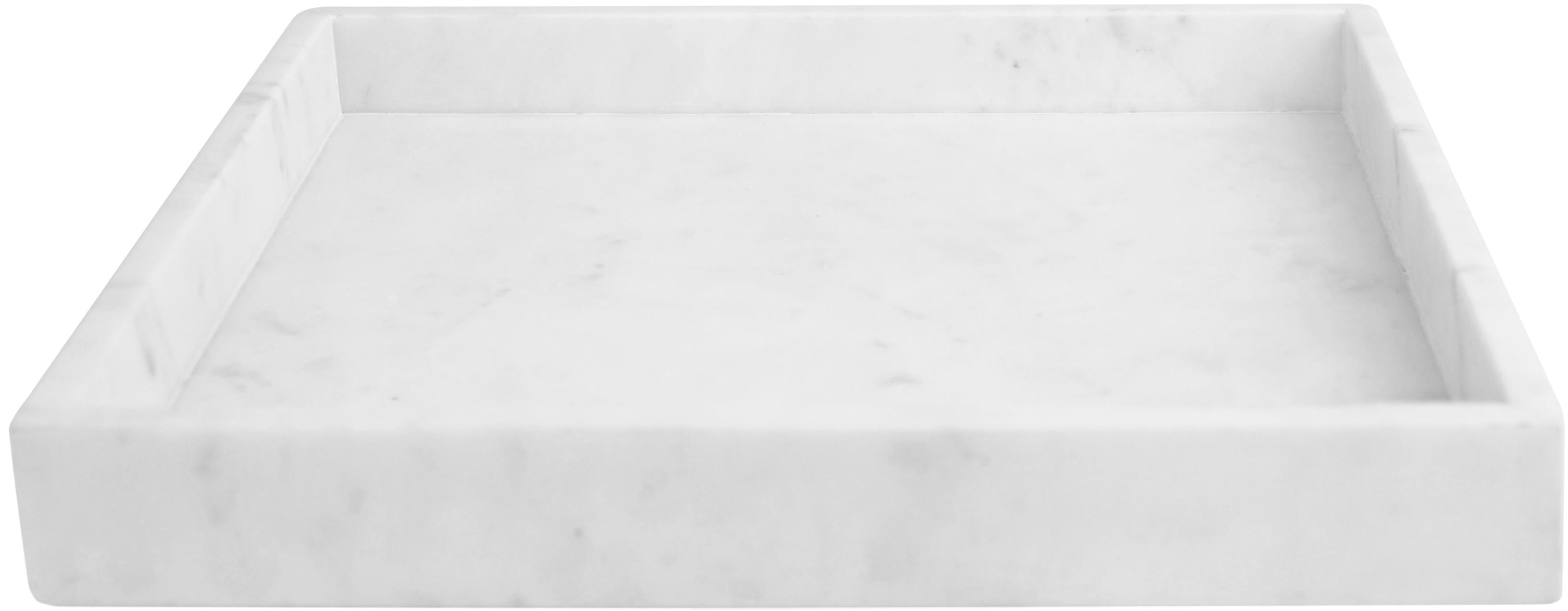 Deko-Marmor-Tablett Ciaran, Marmor, Weiss, marmoriert, B 30 x T 30 cm