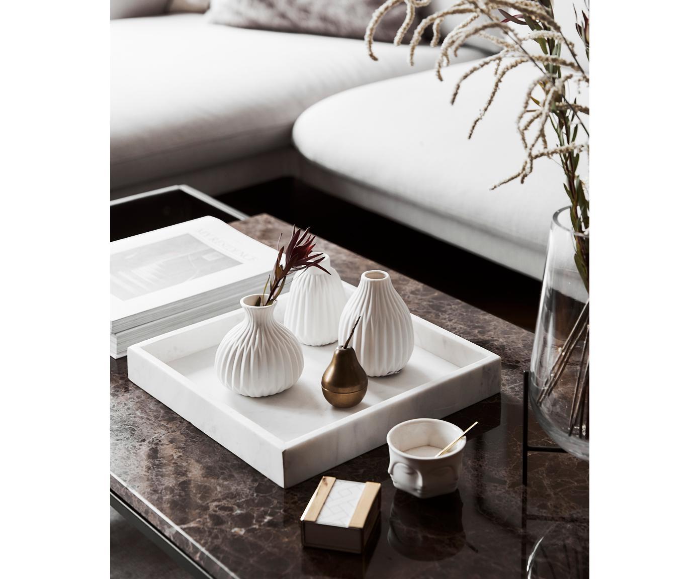 Taca dekoracyjna z marmuru Ciaran, Marmur, Biały, marmurowy, 30 x 30 x 4 cm