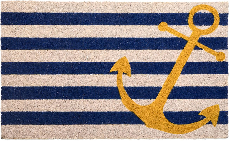 Fussmatte Yellow Anchor, Kokosfaser, Hellbeige, Blau, Gelb, 45 x 75 cm