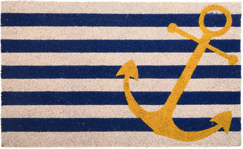 Zerbino Yellow Anchor, Fibra di cocco, Beige chiaro, blu, giallo, Larg. 45 x Lung. 75 cm