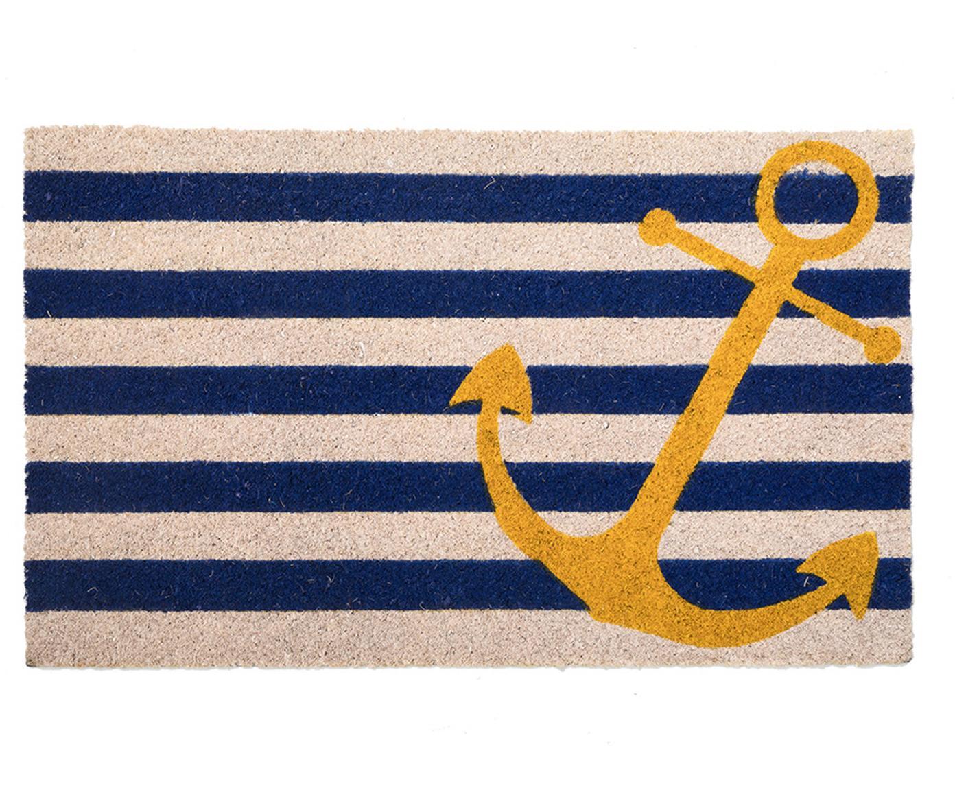 Deurmat Yellow Anchor, Kokosvezels, Lichtbeige, blauw, geel, 45 x 75 cm