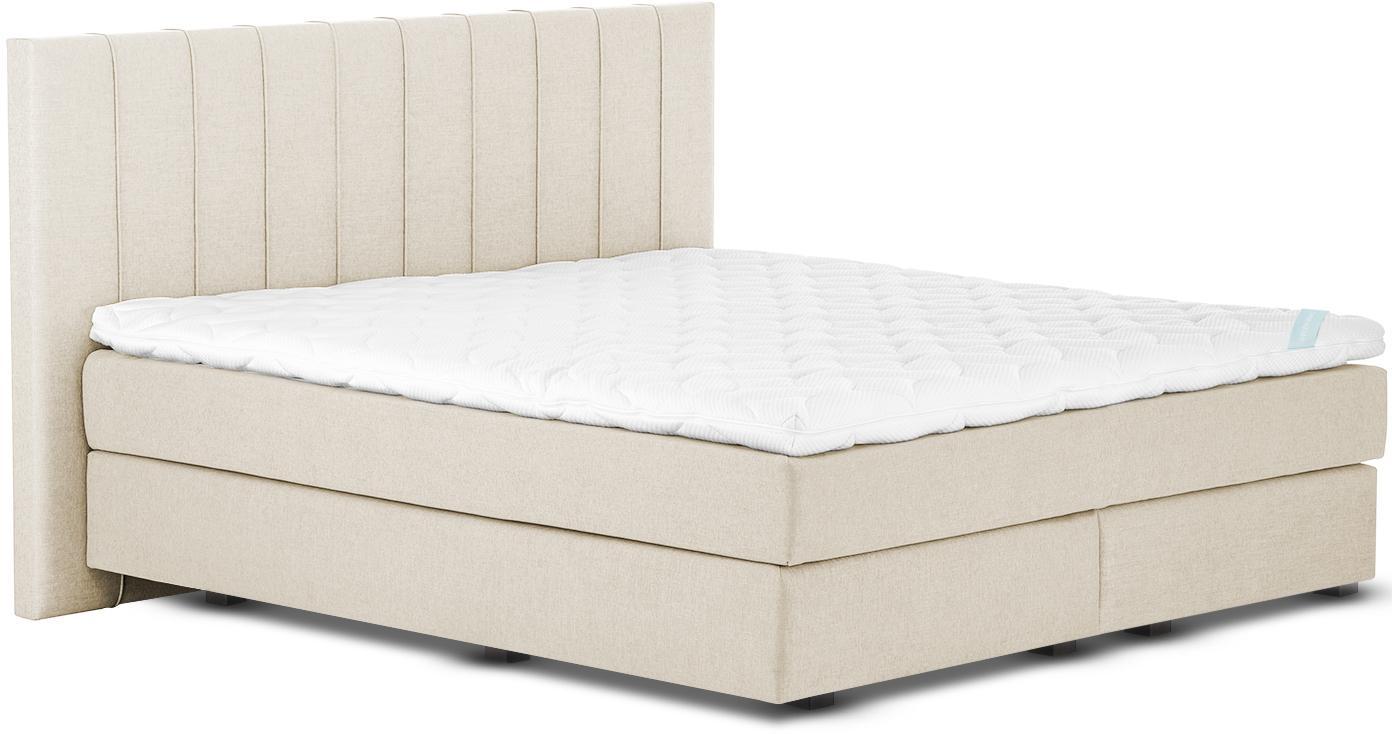 Premium Boxspringbett Lacey, Matratze: 7-Zonen-Taschenfederkern , Füße: Massives Buchenholz, lack, Beige, 140 x 200 cm