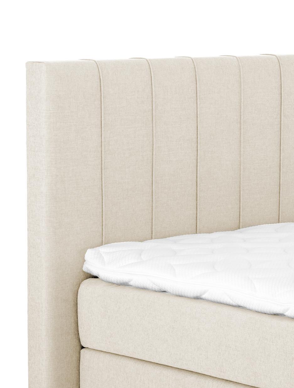 Premium Boxspringbett Lacey, Matratze: 7-Zonen-Taschenfederkern , Füße: Massives Buchenholz, lack, Beige, 180 x 200 cm