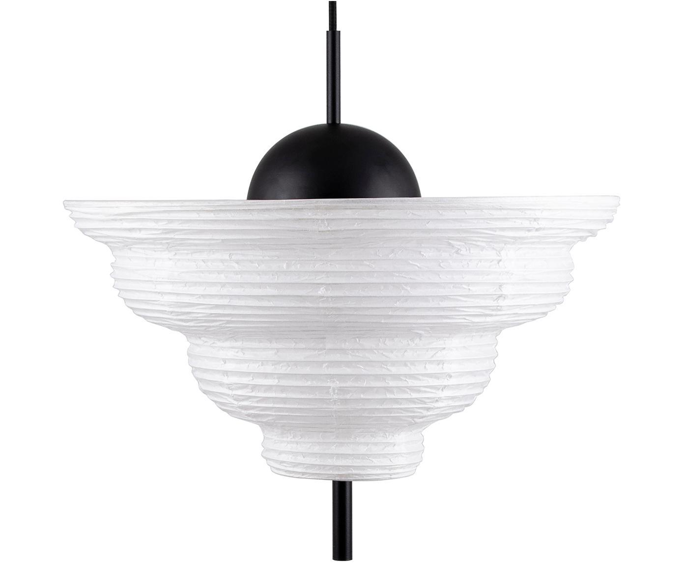 Lampa wisząca z papieru ryżowego Kyoto, Biały, czarny, Ø 45 x W 47 cm