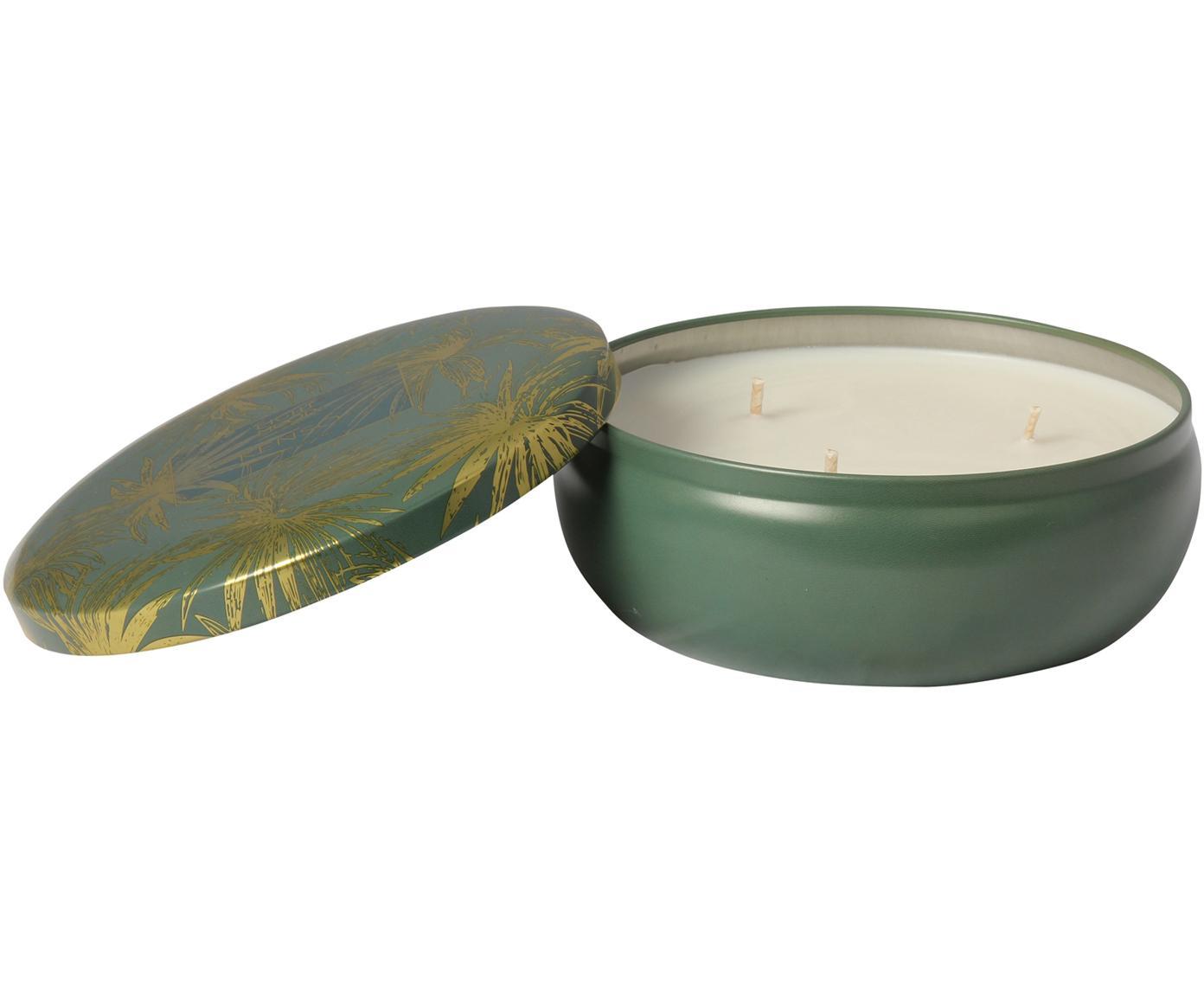 Vela perfumada con tres mechas Kenso (piña, coco y pomelo), Recipiente: metal, Verde, dorado, Ø 13 x Al 6 cm