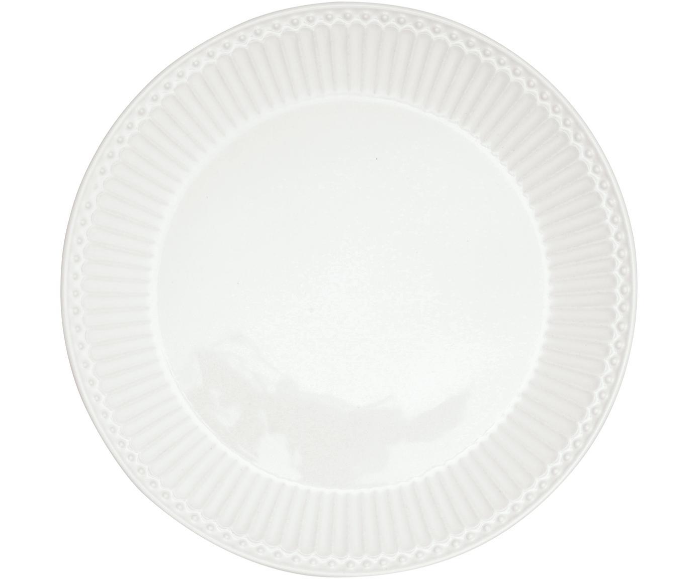 Handgefertigte Frühstücksteller Alice in Weiß mit Reliefdesign, 2 Stück, Steingut, Weiß, Ø 23 cm