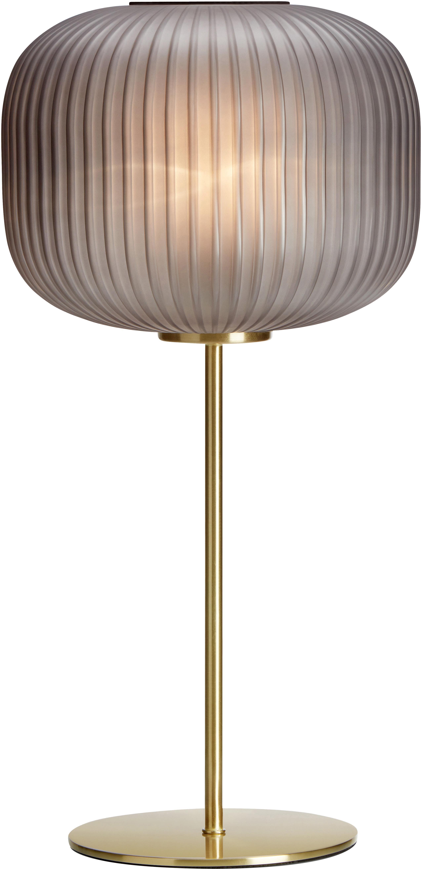 Tafellamp Sober met glazen lampenkap, Glas, geborsteld metaal, Grijs, messingkleurig, Ø 25 x H 50 cm