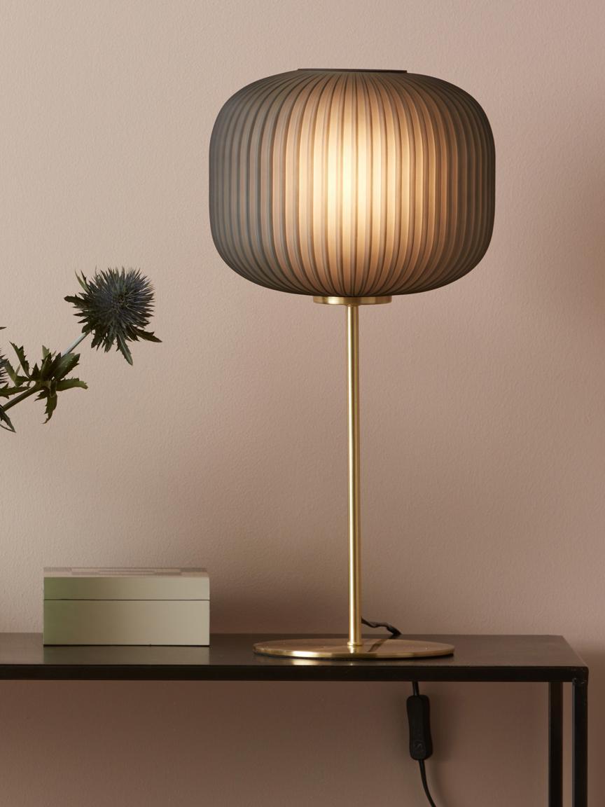 Tischleuchte Sober mit Glasschirm, Lampenschirm: Glas, Lampenfuß: Metall, gebürstet, Grau, Messingfarben, Ø 25 x H 50 cm