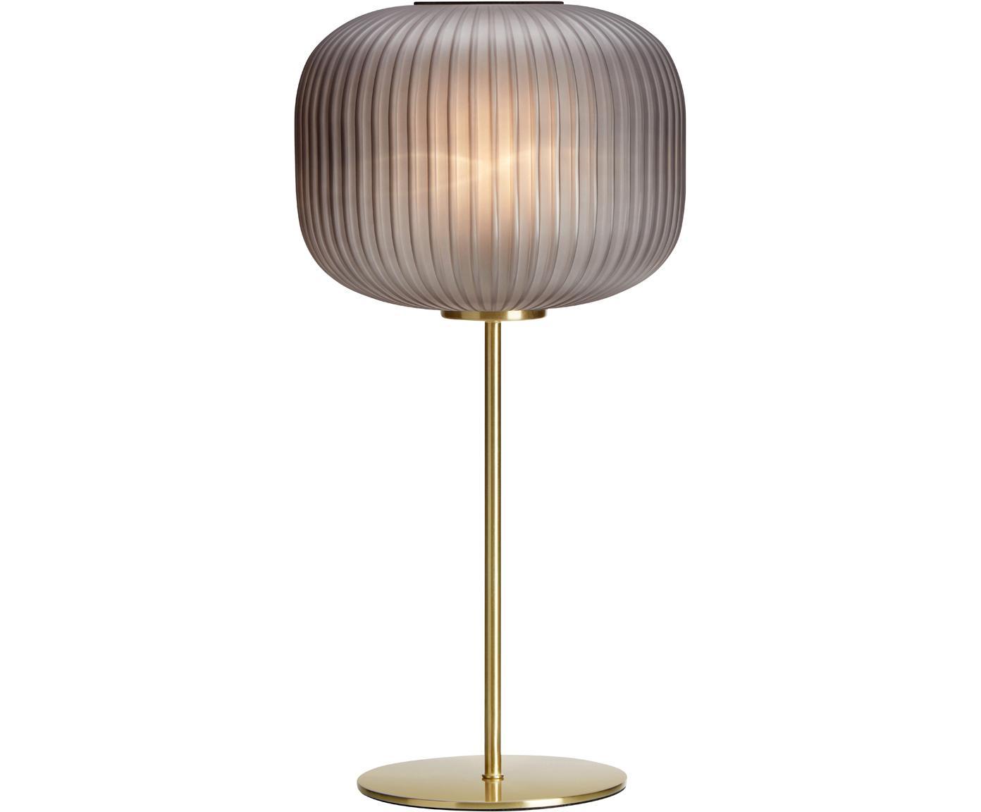 Tafellamp Sober, Glas, geborsteld metaal, Grijs, messingkleurig, Ø 25 x H 50 cm