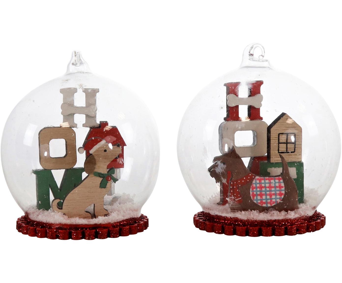 Glaskugeln-Set Christmas Dogs, 2-tlg., Glas, Holz, Styropor, Mehrfarbig, Ø 8 x H 11 cm